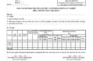 Mẫu số 01 - DM/TSNN: Danh mục trụ sở làm việc, CS HĐNS điều chuyển/ bán/ thanh lý