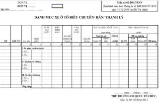 Mẫu số: 02 - DM/TSNN: Danh mục xe ô tô điều chuyển/ bán/ thanh lý