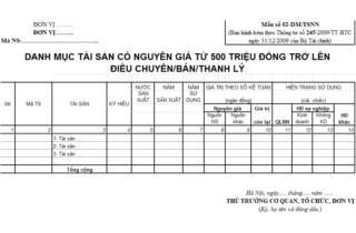 Mẫu số: 03 - DM/ TSNN: DMTS có nguyên giá > 500 triệu điều chuyển/ bán/ thanh lý
